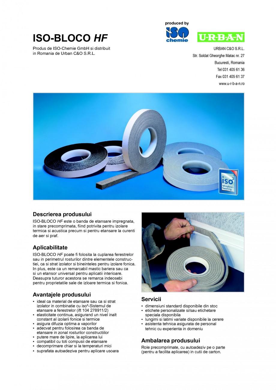 Pagina 1 - Banda de etansare impregnata, in stare precomprimata ISO Chemie ISO-BLOCO HF Fisa tehnica...