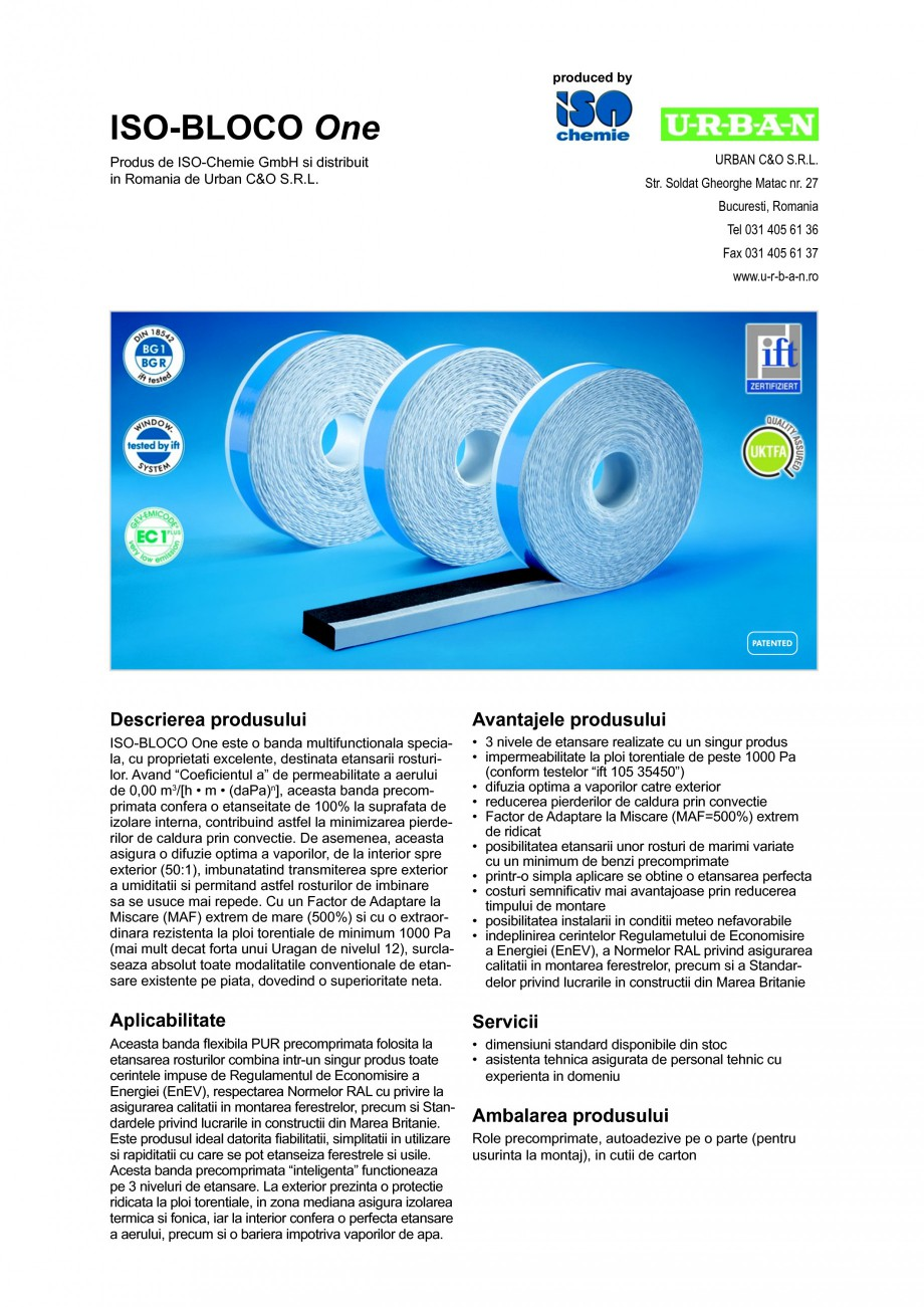 Pagina 1 - Banda multifunctionala speciala pentru etansarea rosturilor ISO Chemie ISO-BLOCO One Fisa...