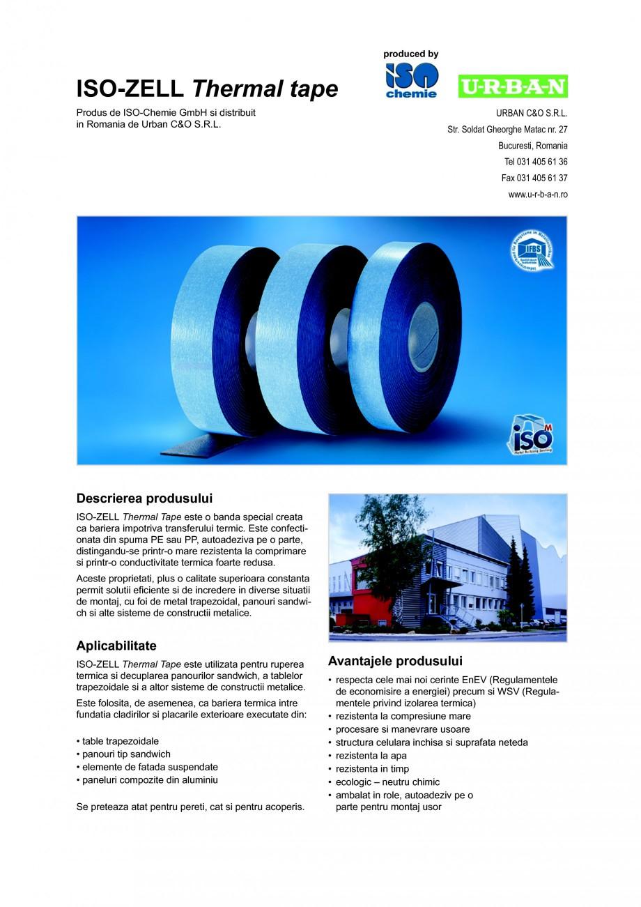 Pagina 1 - Banda din spuma PE sau PP, autoadeziva pe o parte ISO Chemie ISO-ZELL Thermal tape Fisa...