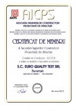 Certificat de membru al Asociatiei Inginerilor Constructori Proiectanti de Structuri EURO QUALITY TEST