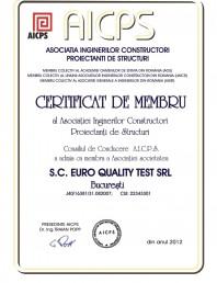 Certificat de membru al Asociatiei Inginerilor Constructori Proiectanti de Structuri