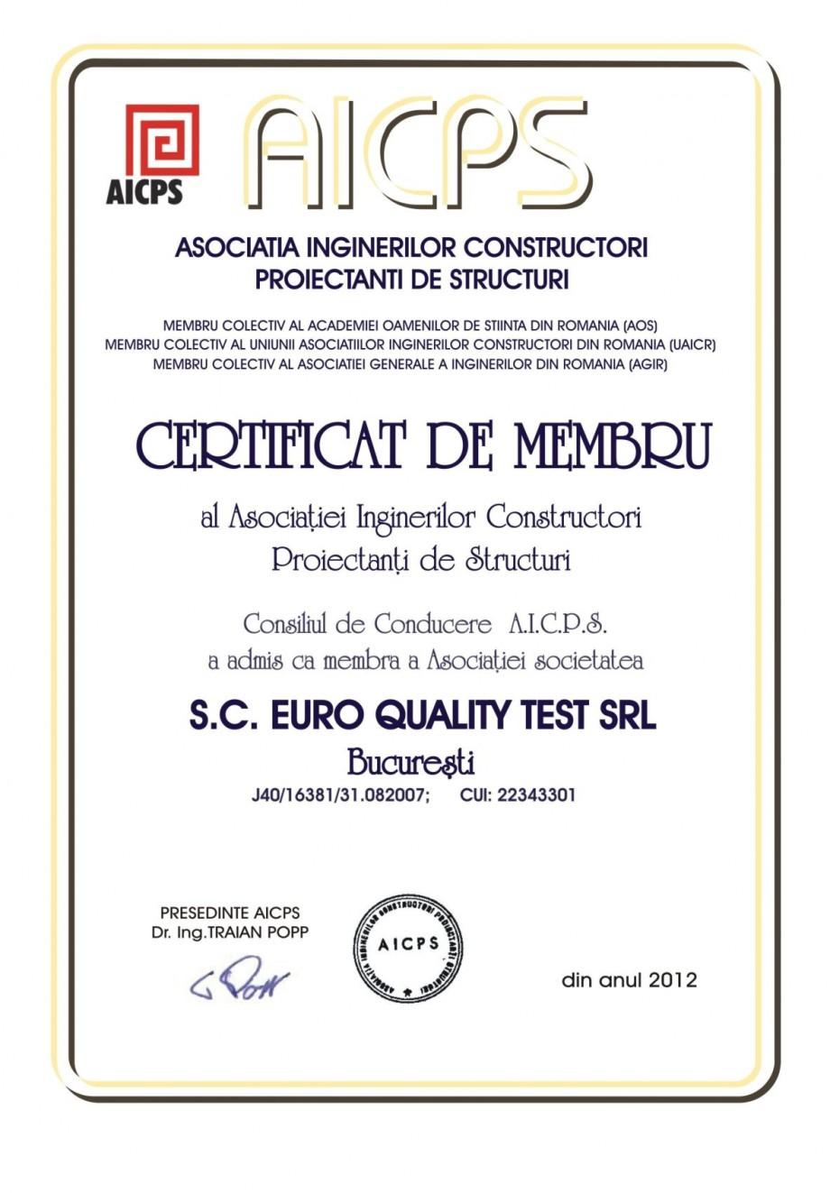 Pagina 1 - Certificat de membru al Asociatiei Inginerilor Constructori Proiectanti de Structuri EURO...