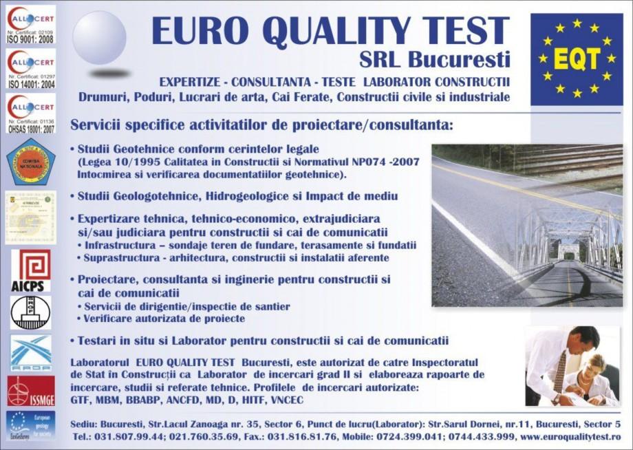 Pagina 1 - Servicii specifice activitatilor de proiectare/consultanta EURO QUALITY TEST Catalog,...