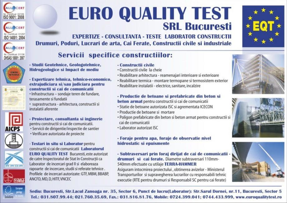 Pagina 1 - Servicii specifice constructiilor EURO QUALITY TEST Catalog, brosura Romana