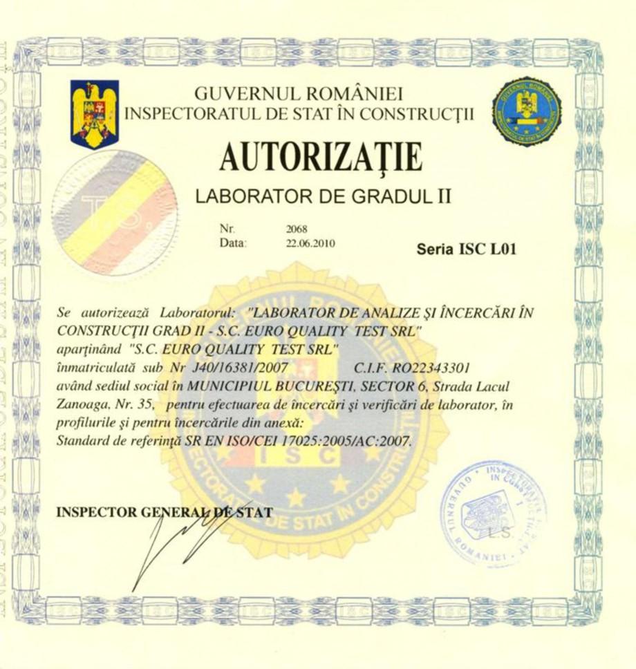 Pagina 1 - Autorizatie Laborator de gradul II EURO QUALITY TEST Certificare produs Romana
