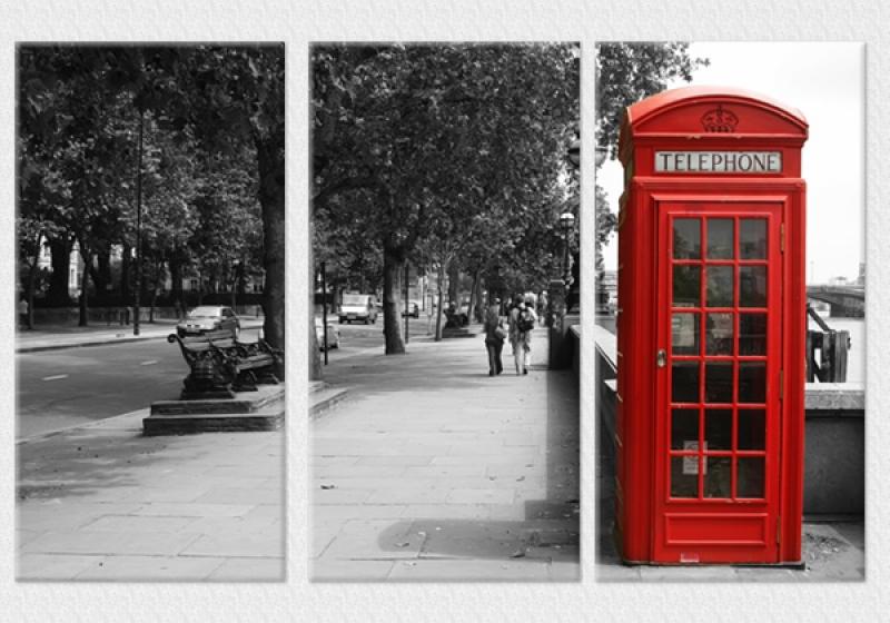 Tablouri set dual view - cabina telefonica Londra Home sweet - Poza 1