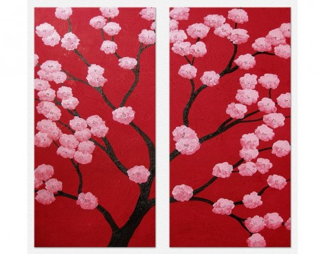 Tablouri set dual view - copaci cires oriental Home sweet - Poza 1