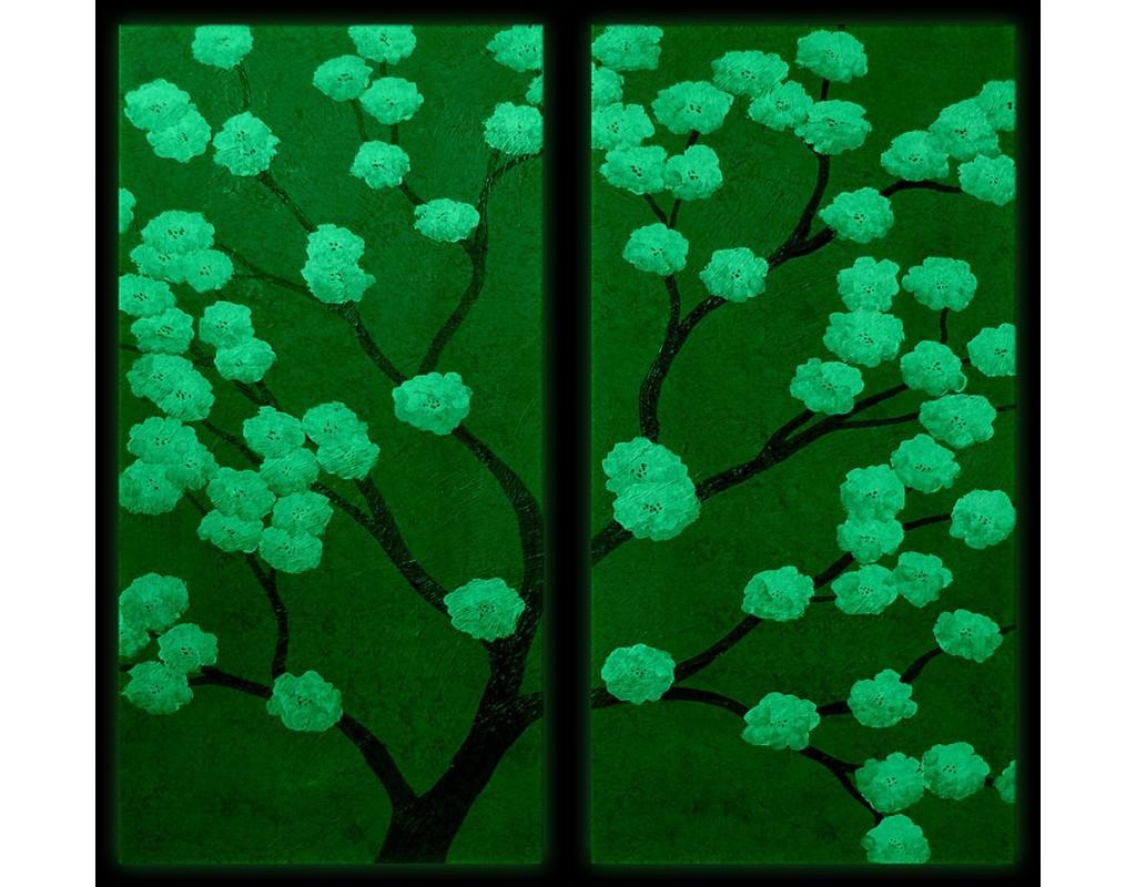 Tablouri set dual view - copaci cires oriental Home sweet - Poza 2