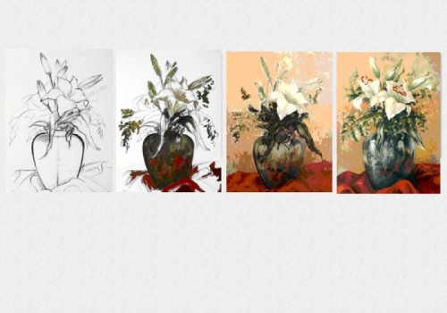 Tablouri set dual view - lectia de pictura in 4 pasi Home sweet - Poza 1