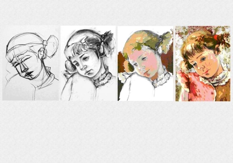 Tablouri set dual view pictura - lectia de pictura in 4 pasi Home sweet - Poza 1