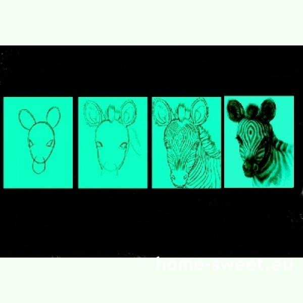 Tablouri set dual view pentru copii lectia de pictura in 4 pasi - Zebra Home sweet - Poza 2
