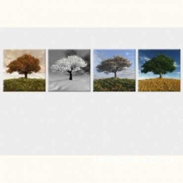 Tablouri set dual view - copaci patru anotimpuri  Home sweet - Poza 1