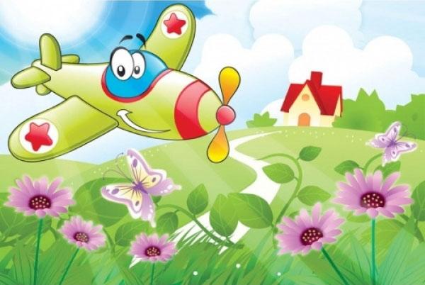 Tablouri pentru copii dual view - avionul vesel  Home sweet - Poza 1