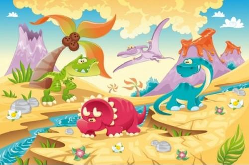 Tablouri copii dual view - dinozauri Home sweet - Poza 1