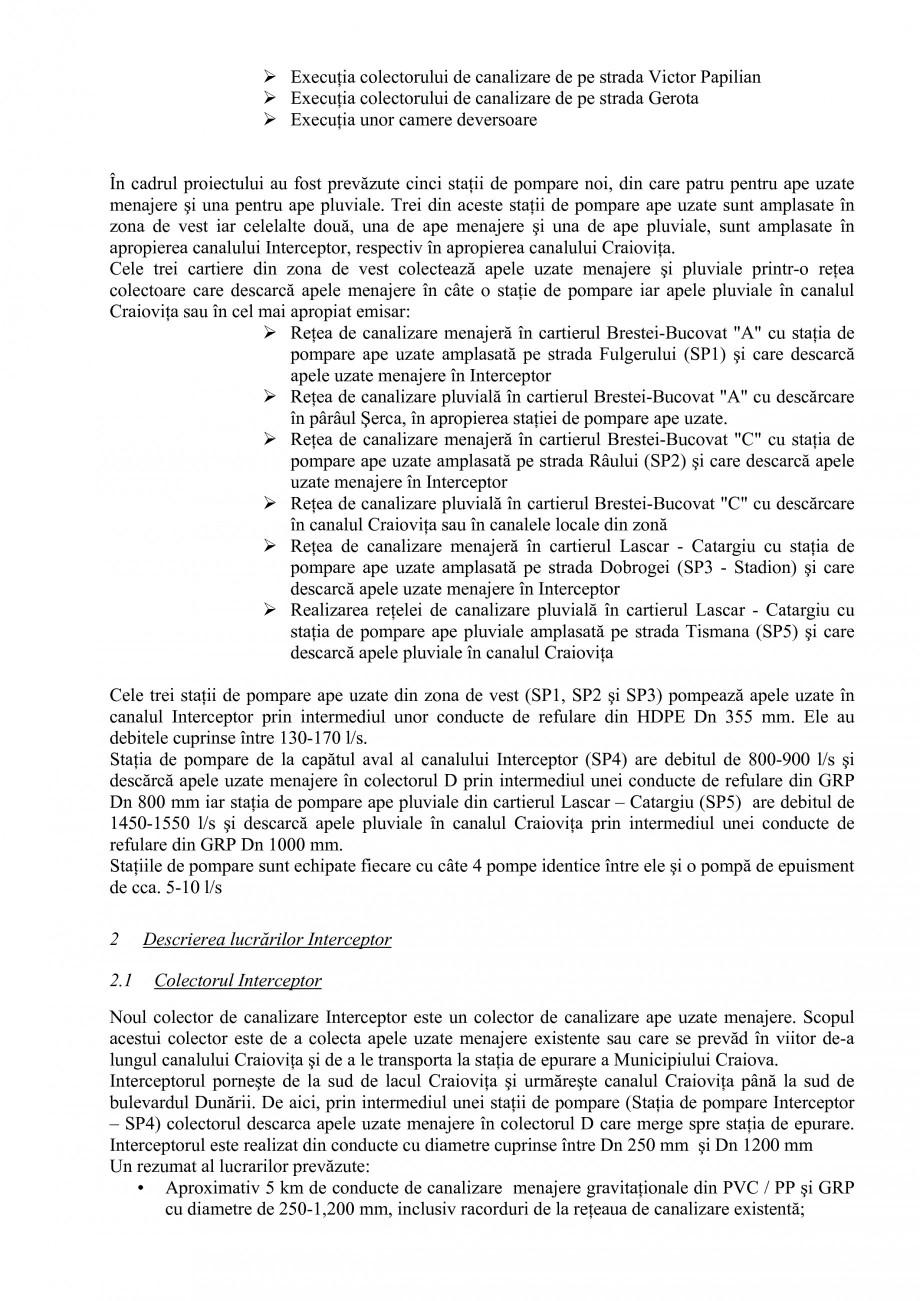 Pagina 2 - Alimentare cu apa si canalizare - Prezentare ISPA Craiova PIF 2009  Lucrari, proiecte...