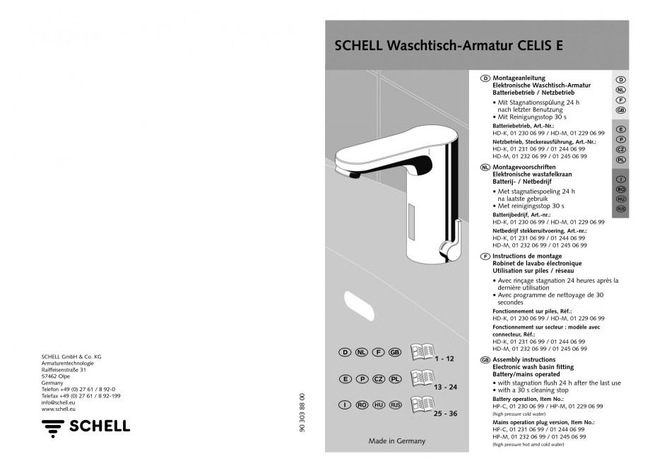 Pagina 1 - Baterie cu senzor electronic pentru lavoar SCHELL CELIS E Tip HD-K, CELIS E Tip HD-M ...