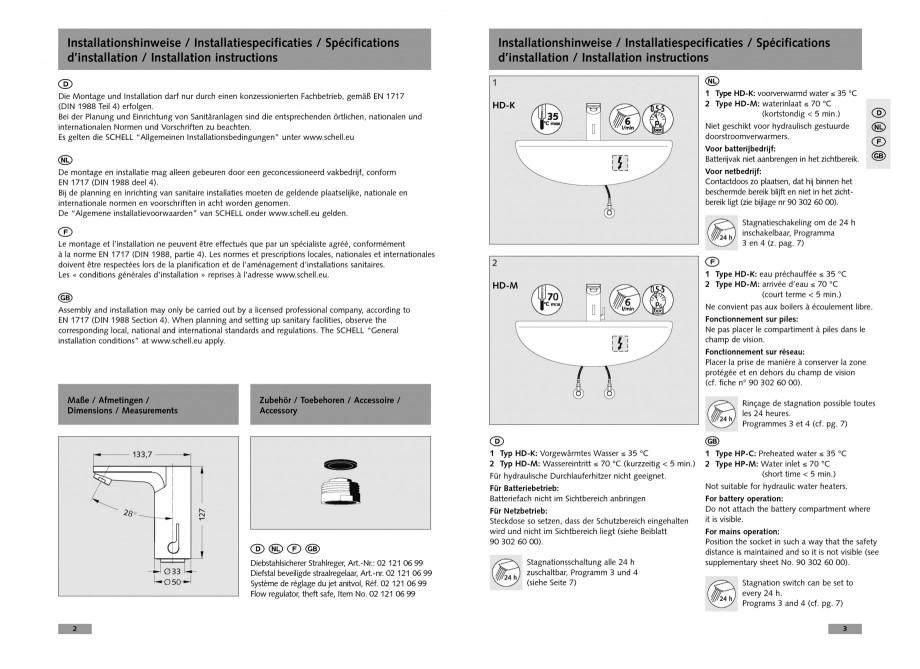 Pagina 2 - Baterie cu senzor electronic pentru lavoar SCHELL CELIS E Tip HD-K, CELIS E Tip HD-M ...