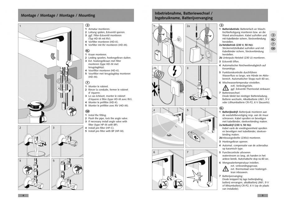 Pagina 3 - Baterie cu senzor electronic pentru lavoar SCHELL CELIS E Tip HD-K, CELIS E Tip HD-M ...