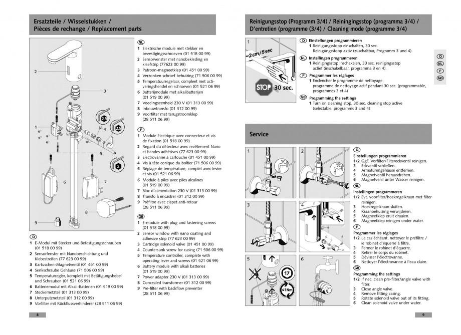 Pagina 5 - Baterie cu senzor electronic pentru lavoar SCHELL CELIS E Tip HD-K, CELIS E Tip HD-M ...
