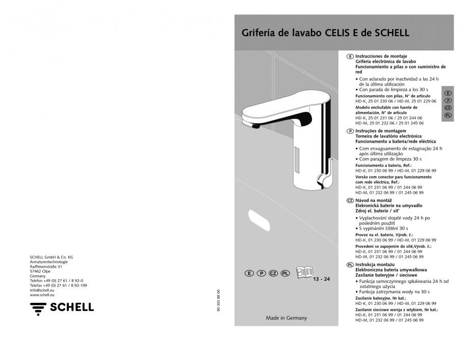 Pagina 7 - Baterie cu senzor electronic pentru lavoar SCHELL CELIS E Tip HD-K, CELIS E Tip HD-M ...