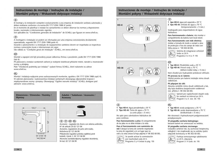Pagina 8 - Baterie cu senzor electronic pentru lavoar SCHELL CELIS E Tip HD-K, CELIS E Tip HD-M ...