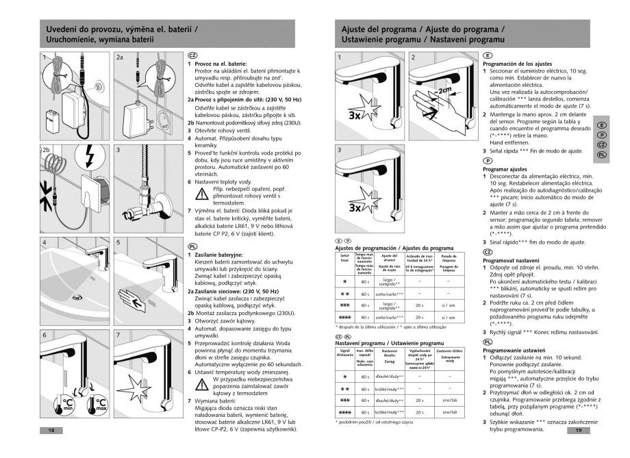Pagina 10 - Baterie cu senzor electronic pentru lavoar SCHELL CELIS E Tip HD-K, CELIS E Tip HD-M ...