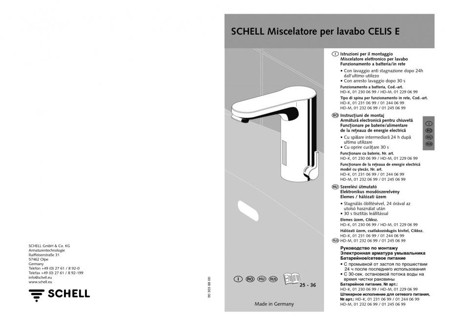 Pagina 13 - Baterie cu senzor electronic pentru lavoar SCHELL CELIS E Tip HD-K, CELIS E Tip HD-M ...