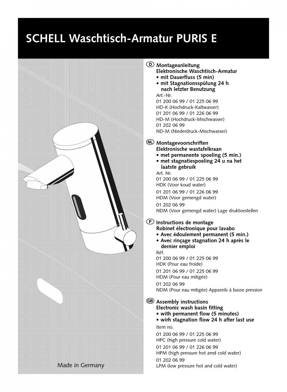 Pagina 1 - Baterie cu senzor electronic pentru lavoar SCHELL PURIS E Tip HD-K, PURIS E Tip HD-M,...