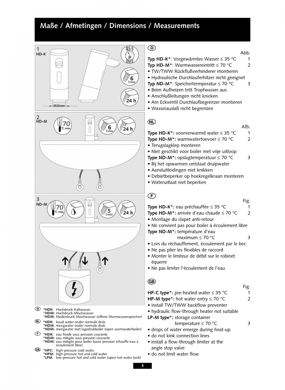 Pagina 3 - Baterie cu senzor electronic pentru lavoar SCHELL PURIS E Tip HD-K, PURIS E Tip HD-M,...