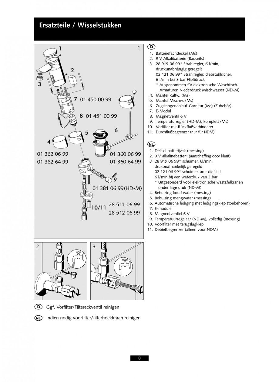 Pagina 8 - Baterie cu senzor electronic pentru lavoar SCHELL PURIS E Tip HD-K, PURIS E Tip HD-M,...