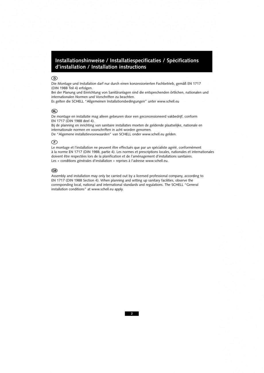 Pagina 2 - Baterie cu senzor electronic pentru lavoar SCHELL VENUS E Tip HD-K, VENUS E Tip HD-M,...