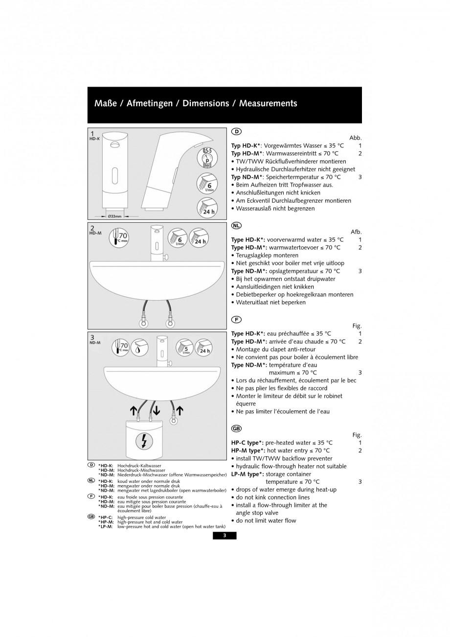 Pagina 3 - Baterie cu senzor electronic pentru lavoar SCHELL VENUS E Tip HD-K, VENUS E Tip HD-M,...