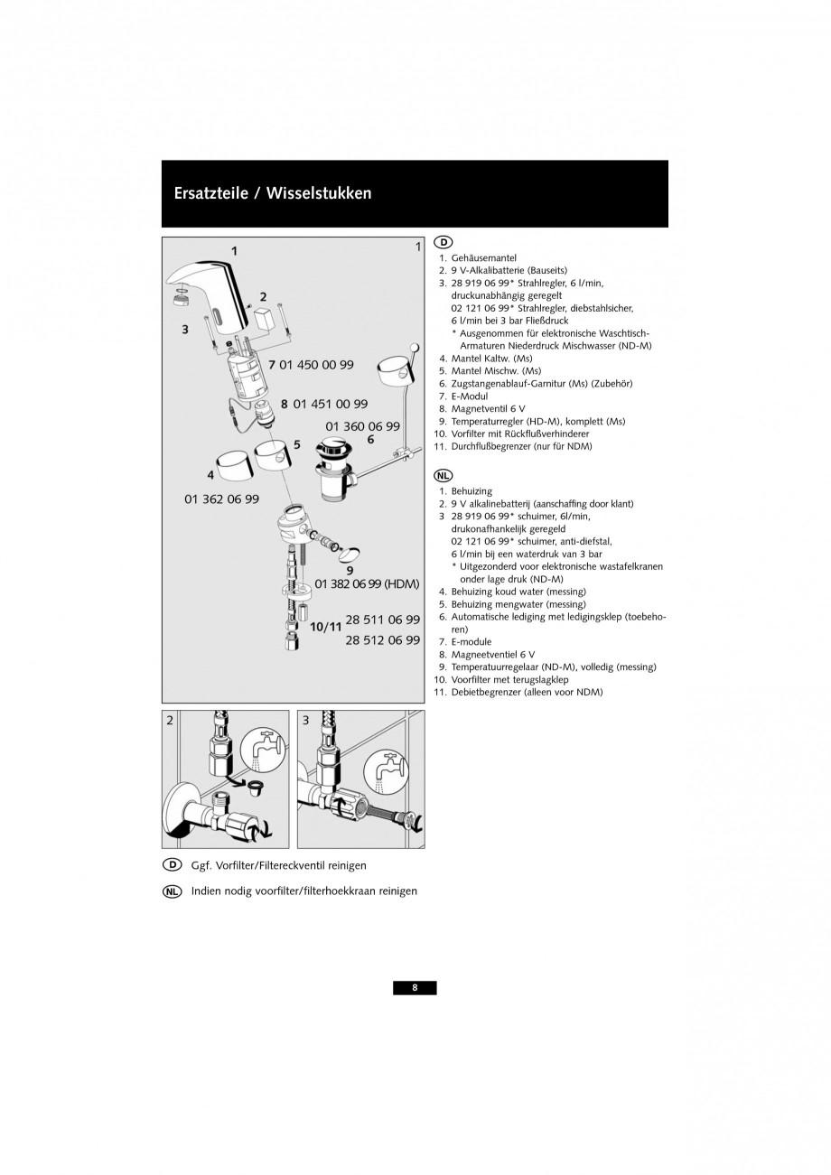 Pagina 8 - Baterie cu senzor electronic pentru lavoar SCHELL VENUS E Tip HD-K, VENUS E Tip HD-M,...