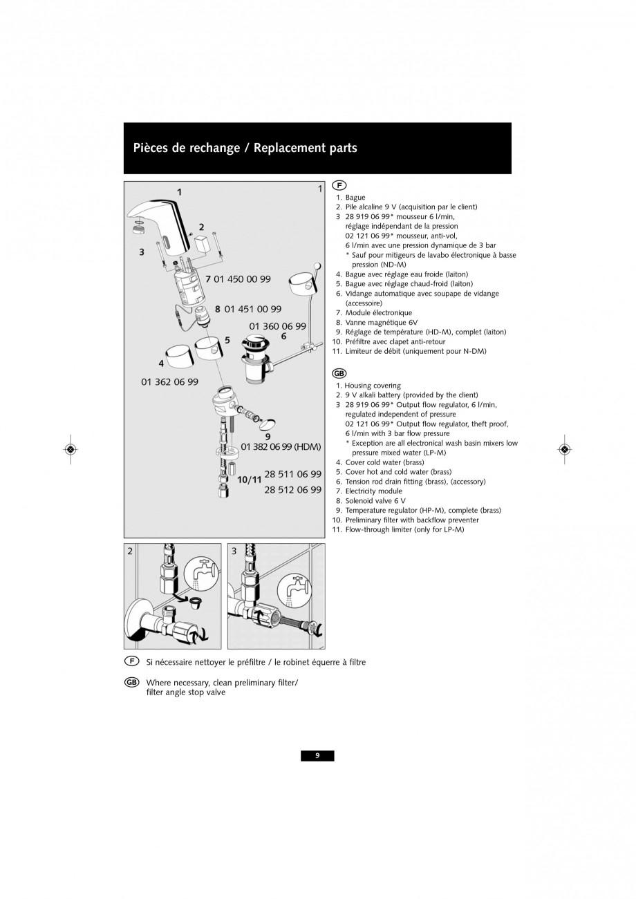 Pagina 9 - Baterie cu senzor electronic pentru lavoar SCHELL VENUS E Tip HD-K, VENUS E Tip HD-M,...