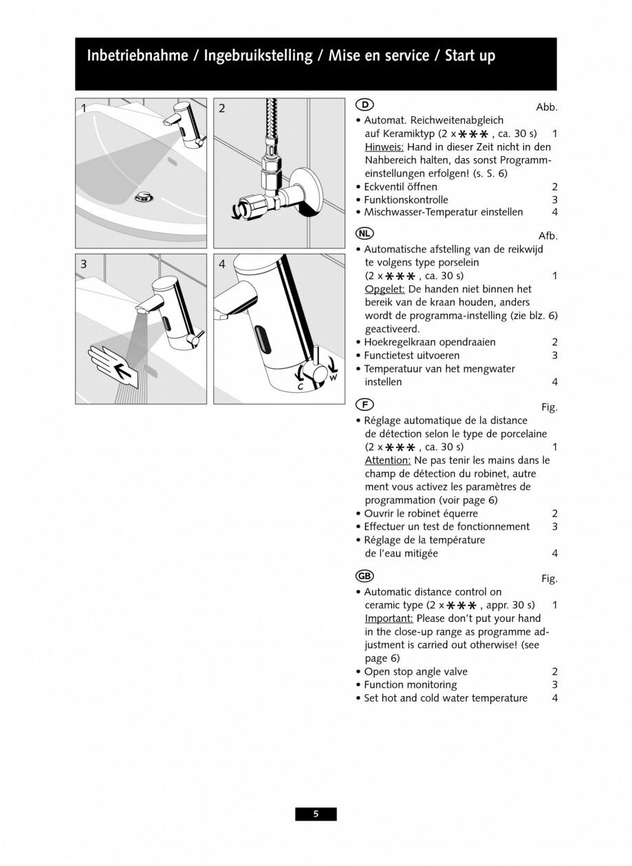 Pagina 5 - Baterii cu senzor electronic pentru lavoare - alimentate de la retea SCHELL PURIS E Tip...