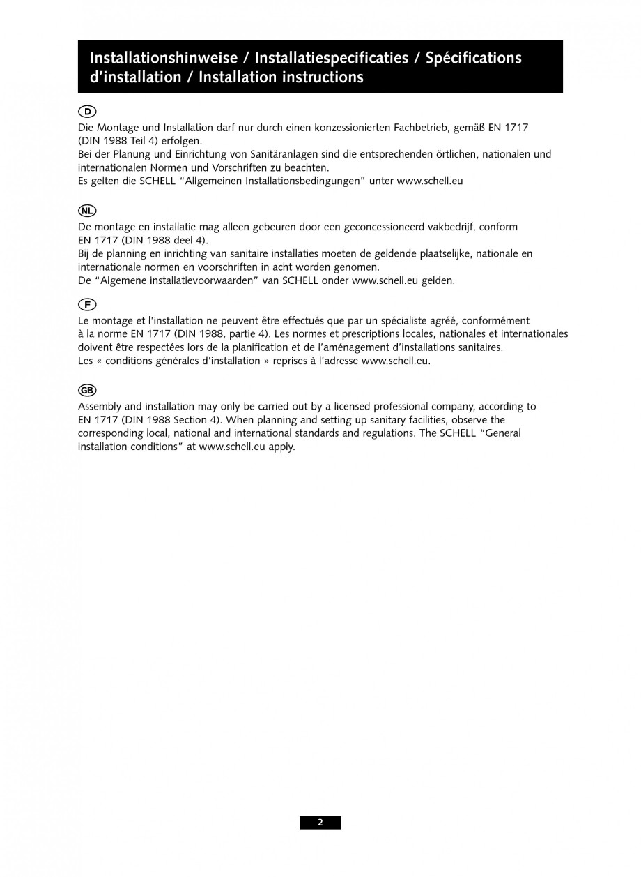 Pagina 2 - Baterii cu senzor electronic pentru lavoare - cu teava de scurgere lunga SCHELL PURIS E...