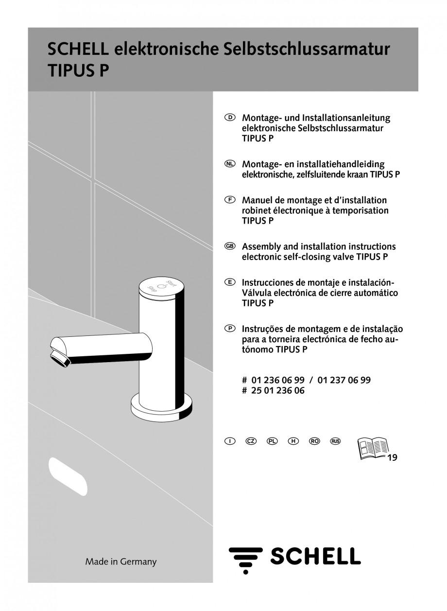 Pagina 1 - Baterie cu temporizare pentru lavoar SCHELL Instructiuni montaj, utilizare Engleza,...