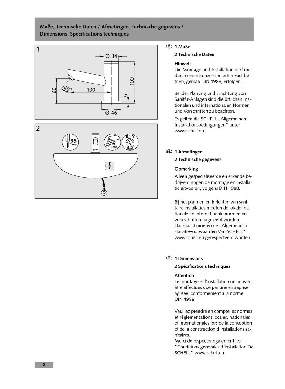 Pagina 2 - Baterie cu temporizare pentru lavoar SCHELL Instructiuni montaj, utilizare Engleza,...