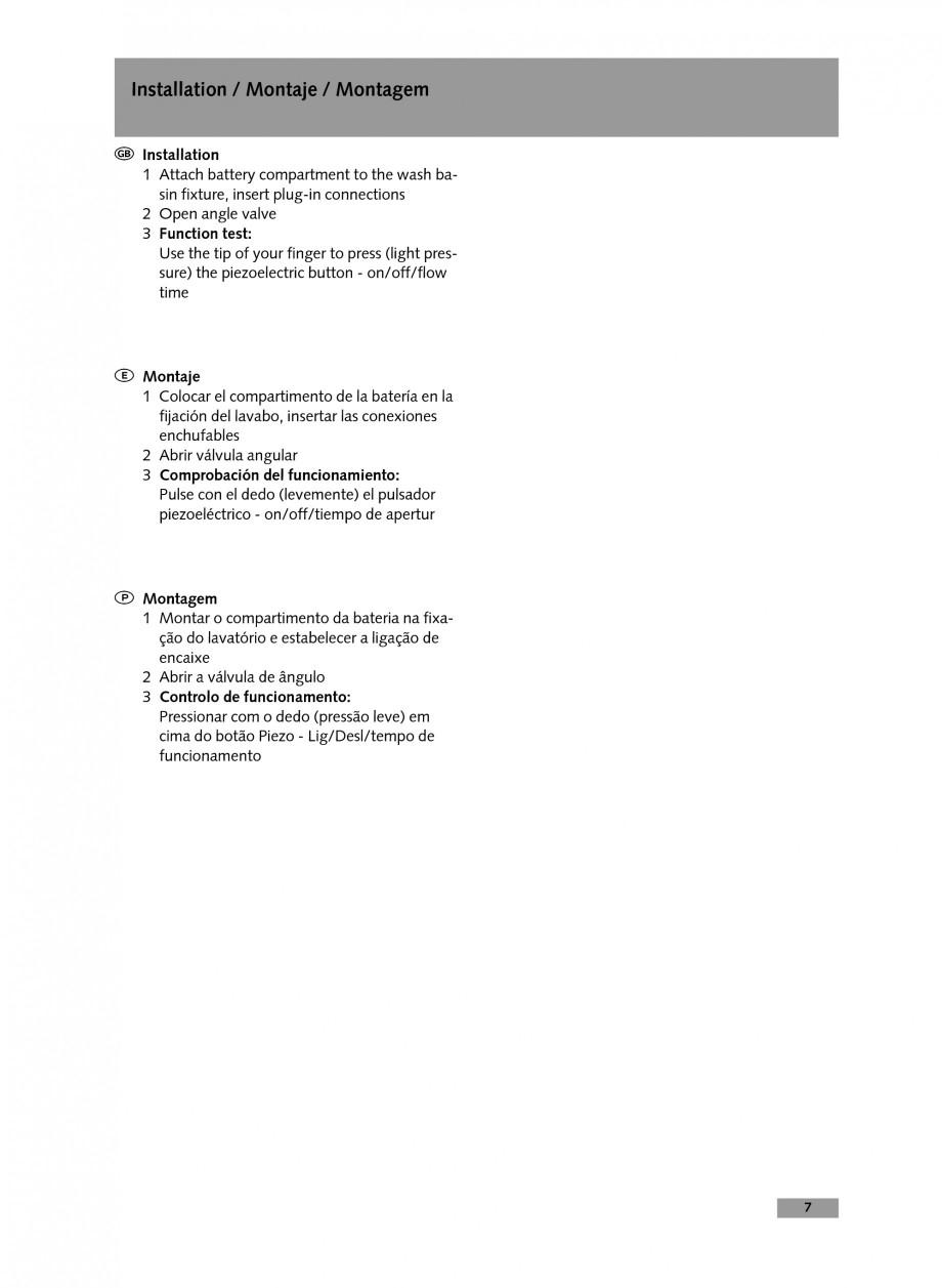 Pagina 7 - Baterie cu temporizare pentru lavoar SCHELL Instructiuni montaj, utilizare Engleza,...