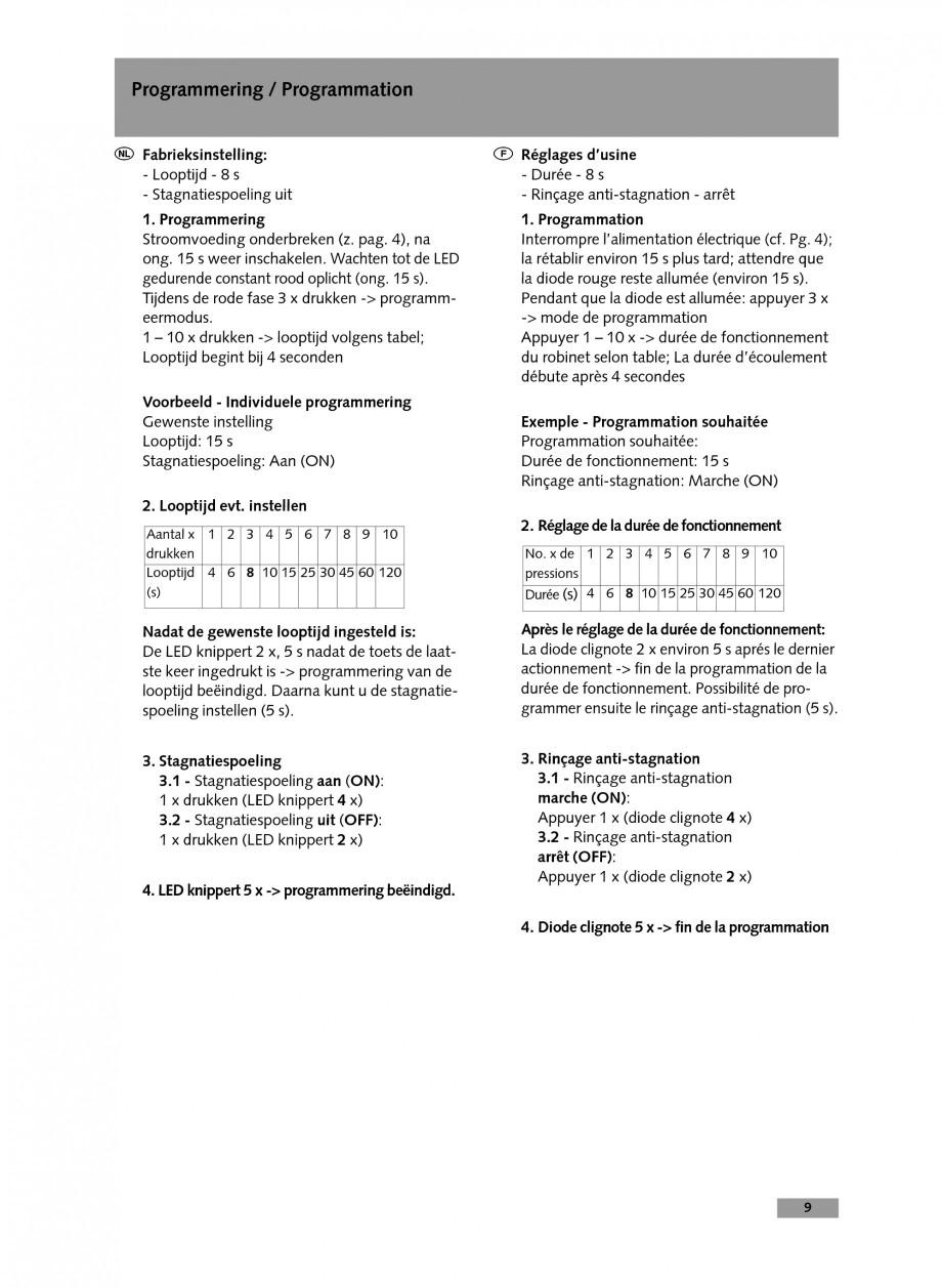 Pagina 9 - Baterie cu temporizare pentru lavoar SCHELL Instructiuni montaj, utilizare Engleza,...
