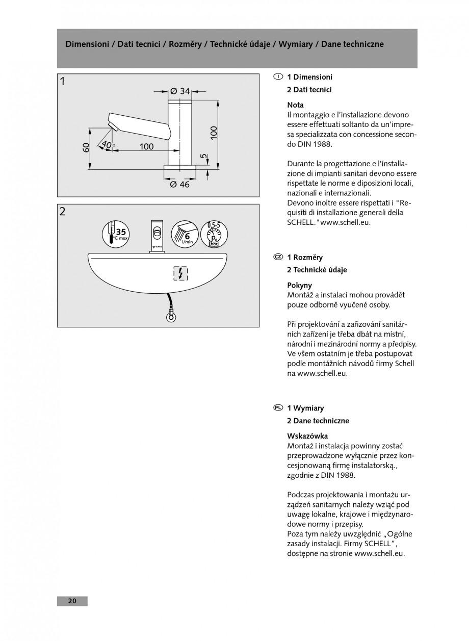Pagina 20 - Baterie cu temporizare pentru lavoar SCHELL Instructiuni montaj, utilizare Engleza,...