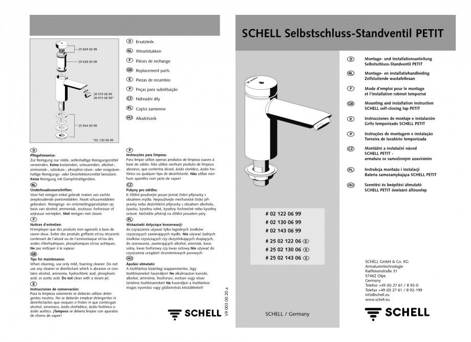 Pagina 1 - Baterie cu temporizare pentru lavoar SCHELL PETIT SC Instructiuni montaj, utilizare...