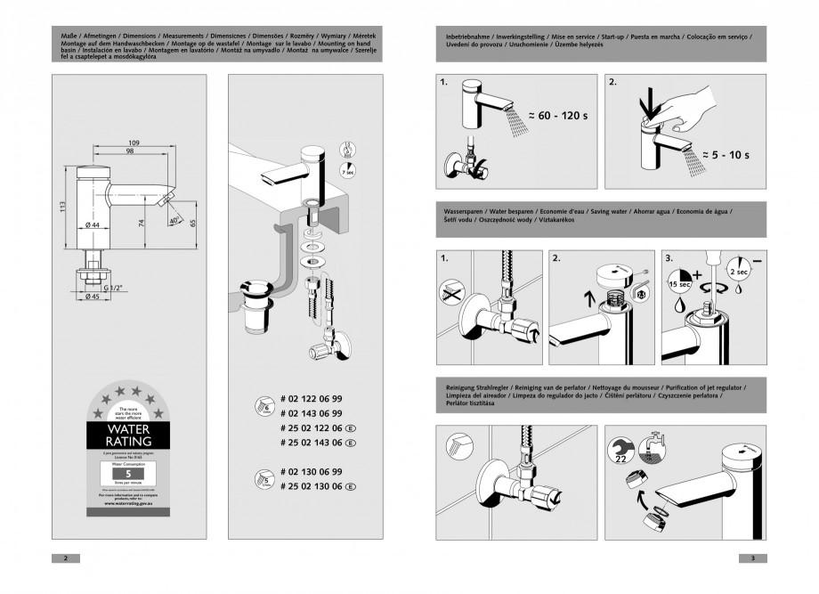 Pagina 2 - Baterie cu temporizare pentru lavoar SCHELL PETIT SC Instructiuni montaj, utilizare...