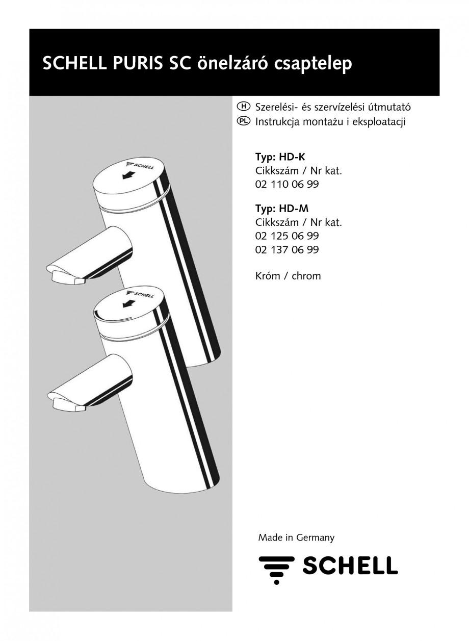 Pagina 1 - Baterie cu temporizare pentru lavoar SCHELL PURIS SC-K, PURIS SC-M Instructiuni montaj,...