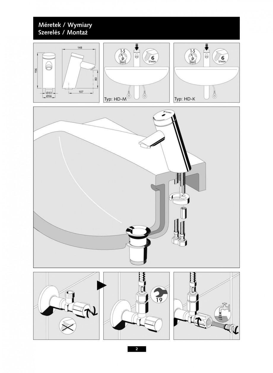 Pagina 2 - Baterie cu temporizare pentru lavoar SCHELL PURIS SC-K, PURIS SC-M Instructiuni montaj,...