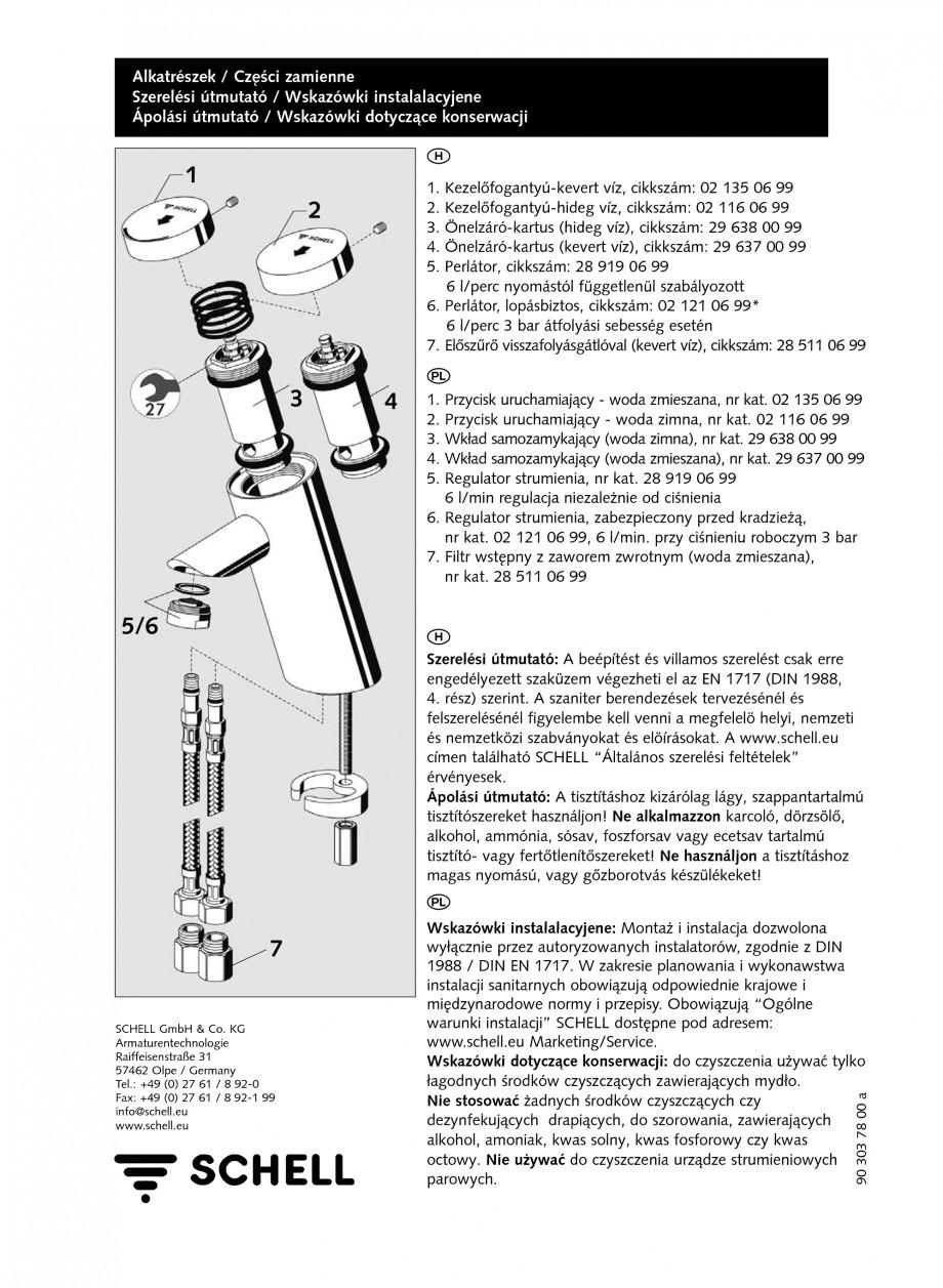 Pagina 4 - Baterie cu temporizare pentru lavoar SCHELL PURIS SC-K, PURIS SC-M Instructiuni montaj,...