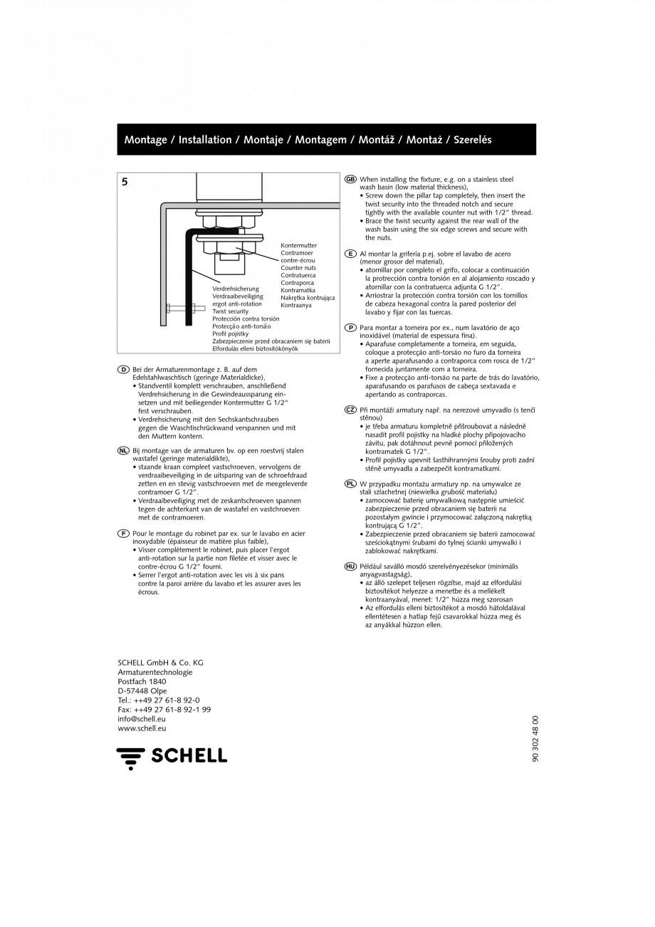 Pagina 4 - Accesorii pentru baterii pentru lavoare - Siguranta antirotire SCHELL PETIT SC Accesorii ...