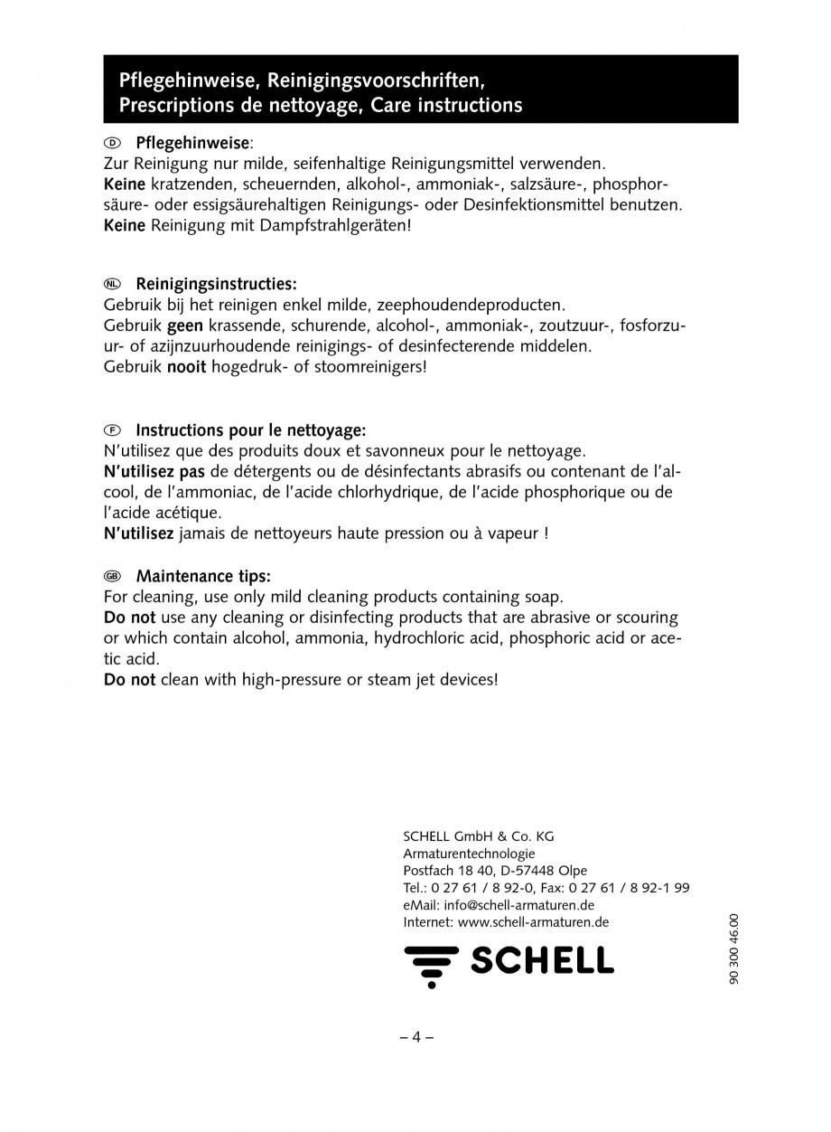 Pagina 4 - Accesorii pentru baterii pentru lavoare - Set ventil automat SCHELL PURIS E Tip HD-K,...