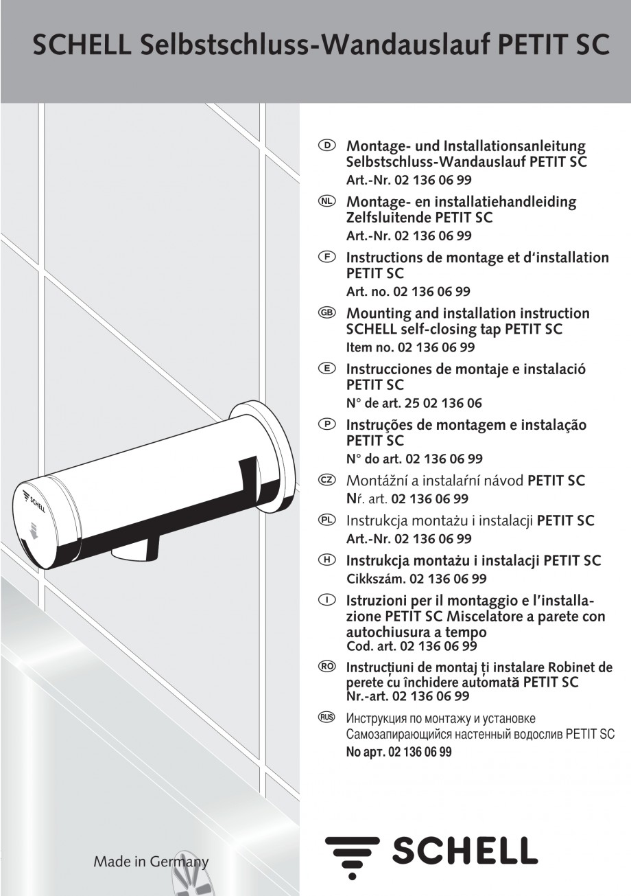 Pagina 1 - Baterie cu temporizator cu montare in perete SCHELL PETIT SC Instructiuni montaj,...