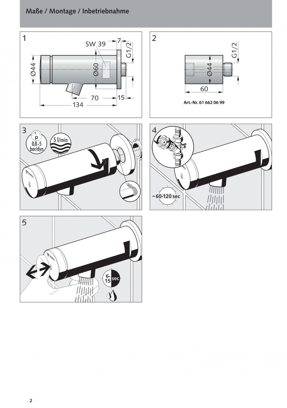 Pagina 2 - Baterie cu temporizator cu montare in perete SCHELL PETIT SC Instructiuni montaj,...